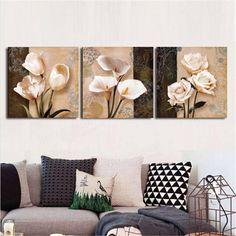 3pcs orchidée rose fleur peinture combinaison sur toile sans cadre dessin mur de décor à la maison chez Banggood