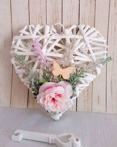 Valentines Day Decorations, Flower Decorations, Shabby Chic Hearts, Wicker Hearts, Wedding Wreaths, Heart Crafts, Backyard Sheds, Garden Sheds, Valentine Wreath