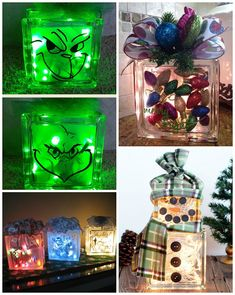 to frost a glass block craft ideas Christmas Glass Block Craft Ideas - Crafty Morning Painted Glass Blocks, Decorative Glass Blocks, Lighted Glass Blocks, Christmas Projects, Holiday Crafts, Christmas Crafts, Christmas Decorations, Christmas Ideas, Christmas Wood