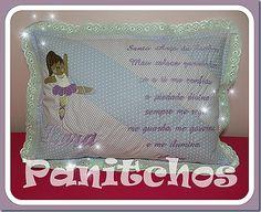Almofada com oração do Santo Anjo personalizada da Lara PANITCHOS -  Ideias em tecido
