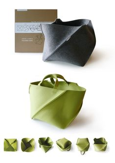 Best 9 Simple and great bag. a bit like a Origami Bag. Mk Handbags, Purses And Handbags, Sacs Tote Bags, Crea Cuir, Sacs Design, Origami Bag, Fabric Manipulation, New Bag, Handmade Bags