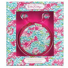 Lilly Pulitzer Lobstah Roll Earbuds and Pouch Set