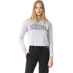 Spiritual Gangster SG Varsity Crop Sweatshirt (124 AUD) ❤ liked on Polyvore featuring tops, hoodies, sweatshirts, heather grey, cropped sweatshirt, logo top, logo sweatshirts, cut-out crop tops and heather grey crewneck sweatshirt