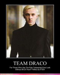 Team Draco! So much better than Team RPattz....Even though he did kinda try to kill people and ruin Harry's life...He's a good person, really!
