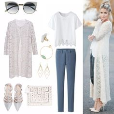 We are I-N-L-O-V-E with this gorgeous angelic look! Top from CHOIES. Kimono from Row. Shoes from ZARA. <3