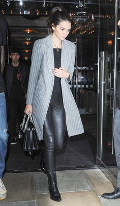 blazer and leather leggings