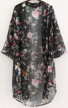 FANALA Blouse Women Shirt 2017 Kimono Cardigan Floral Print Chiffon Loose Long Outwear Blouses Shirts Tops Blusas Plus Size Kimono Cardigan, Cardigan Floral, Cardigan Long, Chiffon Cardigan, Chiffon Kimono, Cardigan Fashion, Chiffon Tops, Kimono Top, Floral Kimono