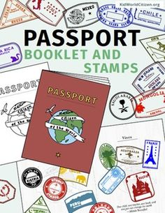 "Passport Stamps and Passport Booklet: These passport stamps and passport booklet are absolutely amazing!!! Perfect for an around the world unit, introduction to country studies, a Geography Fair, International Night, Social Studies Units, ""Read Around the World"" Passports, or Christmas Around the World (or Holidays Around the World). 35 countries plus bonus stickers/stamps!"