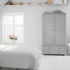 Sandringham Solid Oak Painted Cream/Grey Gents Wardrobe - - Wardrobe - Mark Harris - Space & Shape - 23