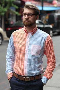 Mens Buttondown Collar Summer Gingham Mashup Shirt