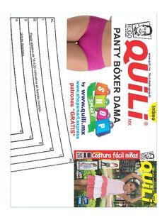 Patrón boxer femenino Quili Sewing Lingerie, Sexy Lingerie, Clothing Patterns, Sewing Patterns, Underwear, Knitting, How To Make, Diana, Ideas
