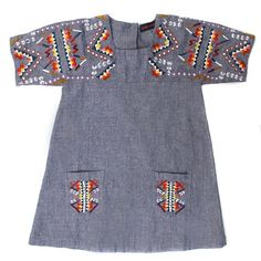 Antik Chambray Embroidered Dress for baby girl #kidsfashion