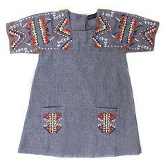 Antik Chambray Embroidered Dress for baby girl #kidsfashion