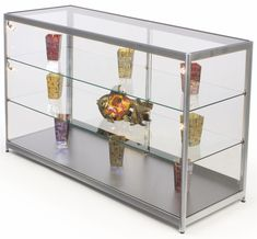 """72"""" Retail Display Counter w/ Track Lights, Sliding Doors, Ships Assembled - Silver"""