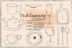 dishes, tableware hand drawn by Olesya Morokhovets on @creativemarket