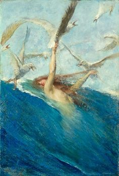 Mermaid mobbed by Seagulls, Giovanni Segantini