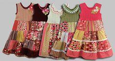 Платья для девочек: лоскутное шитьё + вязание