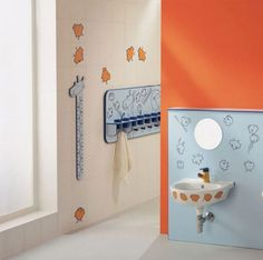 Land of nod shower curtains teenage bathroom accessories ideas full size kids decor with nice blue Fish Bathroom, Kid Bathroom Decor, Small Space Bathroom, Bathroom Colors, Colorful Bathroom, Small Spaces, Kid Bathrooms, Bling Bathroom, Bathroom Artwork