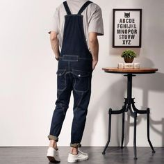 48f7cfbae5b2 Free shipping 2017 Mens blue Denim Jumpsuits Fashion Bib Overalls with  Pockets for Male Men Jeans Suspender Bib Pants 040609  MensJeans