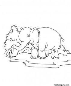 printable jungle animal baby elephant coloring page for kids printable coloring pages for kids - Baby Jungle Animal Coloring Pages