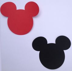 """30 5"""" Mickey Mouse Head Silhouettes Die Cut Black or Red Paper DIY Banners/ Centerpieces/ Favor Tags"""