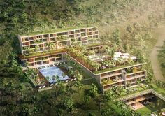 The design of this 40.000m2 project on a sloped land is based on maintaining the mountains slope to have a minimum impact on excavating the mountain, and res...