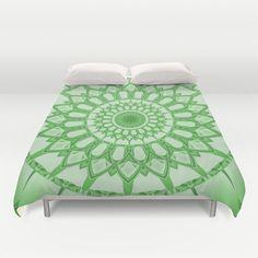 Flower Mandala serie green Duvet Cover by Christine baessler - $99.00