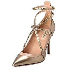 9d6c19e8cac Valentino Garavani Women s Leather Golden Ankle Strap High Heels Shoes   694.99 By House of A