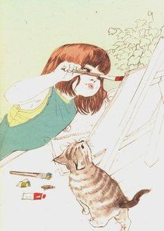 Imagen de art, cat, and drawing