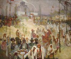 The Slav Epic #6:  The Coronation of Serbian Tsar Stepan Dusan by Alphonse Mucha
