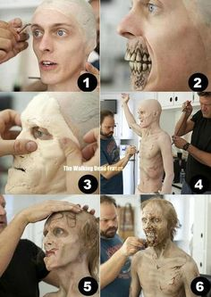 A walker from The Walking Dead getting into his makeup. Amazing transformation.