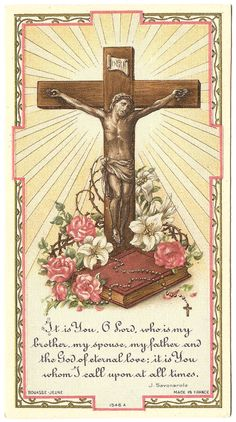 Crucifix with Bible & Rosary Antique Holy Prayer Card Made in France