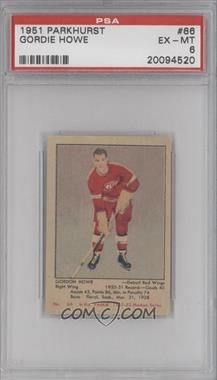 1951-52 Parkhurst #66 - Gordie Howe RC (Rookie Card) [PSA 6] - COMC Hockey Cards, Baseball Cards, Ted Lindsay, Detroit Red Wings, Birth Year, Marcel, 1930s, Mint, Game
