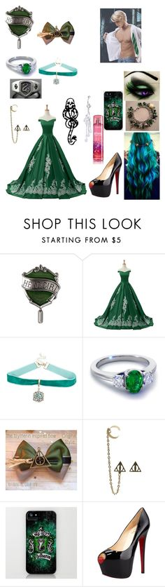 """""""Slytherin ball"""" by fly-with-angles ❤ liked on Polyvore featuring Reception, Blue Nile, mark. and Christian Louboutin"""