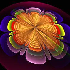 Fractal rainbow fantasy flower Art Print