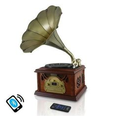 Retro Vintage Classic Style Bluetooth Turntable Phonograph Record Player, Vinyl-to-MP3 Recording, AM/FM Radio, CD & Cassette Tape Players
