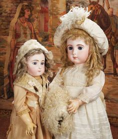 """French Bisque Bebe Triste,Size 11,by Emile Jumeau with Fine Modeling of Features 25"""" (64 cm.) and Beautiful French Bisque Bebe Triste by Emile Jumeau,Size 13 28"""" (71 cm.)"""
