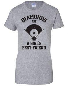 Diamonds Are A Girls Best Friend baseball softball sports funny Printed graphic T-Shirt Tee Shirt Mens Ladies Women Youth Kids ML-310b