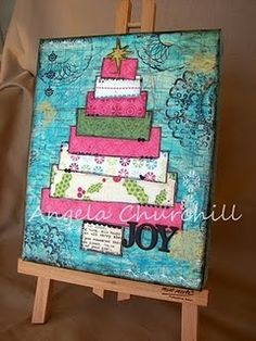 mixed media Christmas tree canvas-saw this on Christy Tomlinson's site.