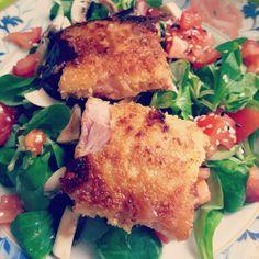 Chèvre chaud jambon panné salade de mâche tomate