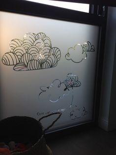 """Dépoli sur vitre pour occulter la vue """"Chambre de Nils"""""""