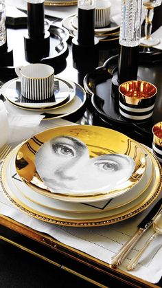 fornasetti plate in table setting