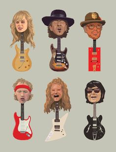 Guitar Heads by Mitch Frey, via Behance Clint Eastwood, Caricatures, Pop Culture, Guitar, Behance, Illustration, Music, Movies, Movie Posters