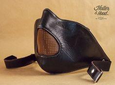 Masque moto cuir/holler&hood thunderbird hog par HollerandHood