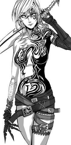 Female Warrior Picture  (2d, fantasy, illustration, girl, woman, warrior)