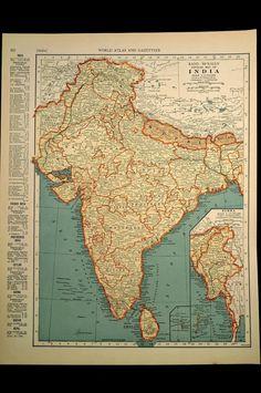 Vintage Map India 1930s Original 1935