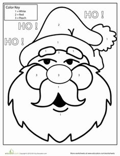 Your child can get ready for jolly old Santa Claus by coloring his smiling face in this color-by-number activity.