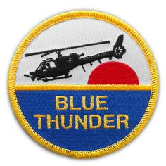 The Blue Thunder patch was inspired in the TV Series Blue Thunder and is awesome! Finished size is mm) diameter The edges are METALLIC GOLD overlocked/merrowed This has an iron-on backing For more permanent application we recommend sewing on 80s Tv Series, Thunder, Patches, Iron, Amy Adams, Slot Cars, Tvs, Beast, Aircraft