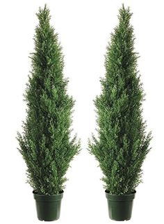 Two 4 Foot Outdoor Artificial Cedar Topiary Trees Uv Rated Potted Plants -- More info could be found at the image url.