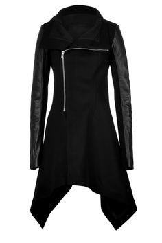 Wool Coat with Leather Sleeves from RICK OWENS | Luxury fashion online | STYLEBOP.com